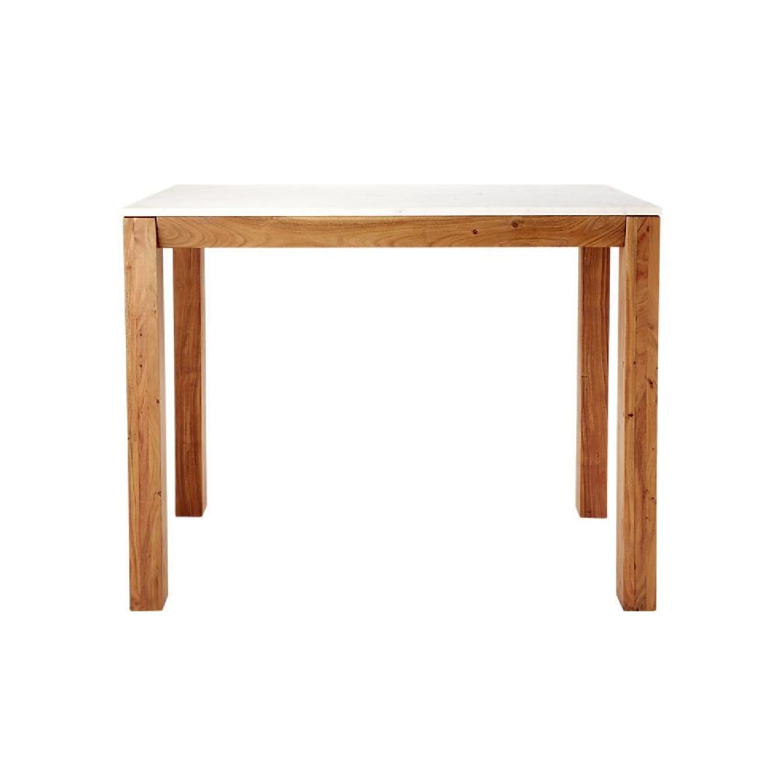 CB Marble Acacia Bar Height Dining Table AptDeco - Cb2 wood table