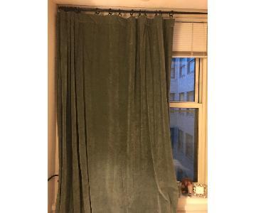 Pottery Barn Vintage Velvet Curtains w/ Antique Brass Rod
