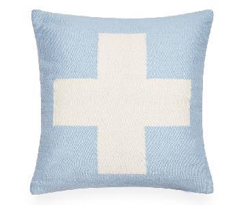 Jonathan Adler Reversible Light Blue Cross Pillows
