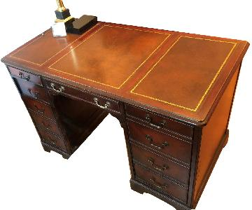 Wood Desk w/ Leather Top