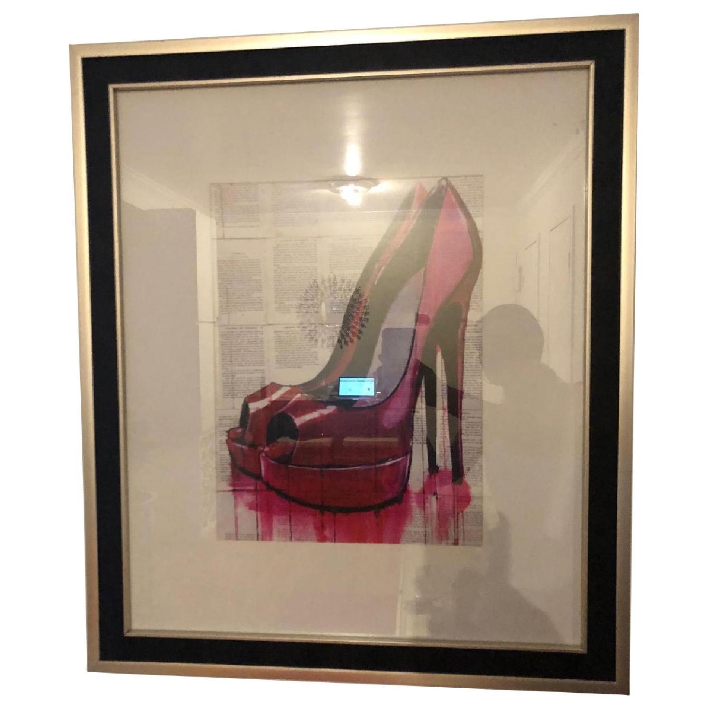 Hot Pink Heels Watercolor On Newspaper in Black & Gold - AptDeco