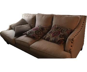 Raymour & Flanigan Beige Linen Sofa w/ Nailheads Trim