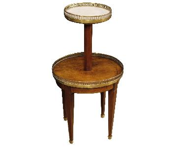 French Tagre in Carved Wood w/ Marble Top