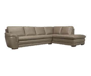 Raymour & Flanigan Garrison 2-Piece Leather Sectional Sofa