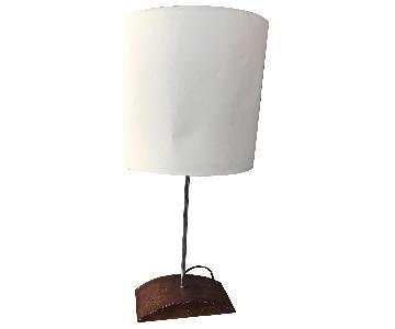 Heals Tan Leather & Metal Elliptical Table Lamps
