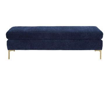 TOV Furniture Navy Velvet Upholstered Bench