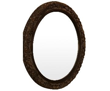 The Bombay Company Decorative Carved Wood Framed Oval Mirror