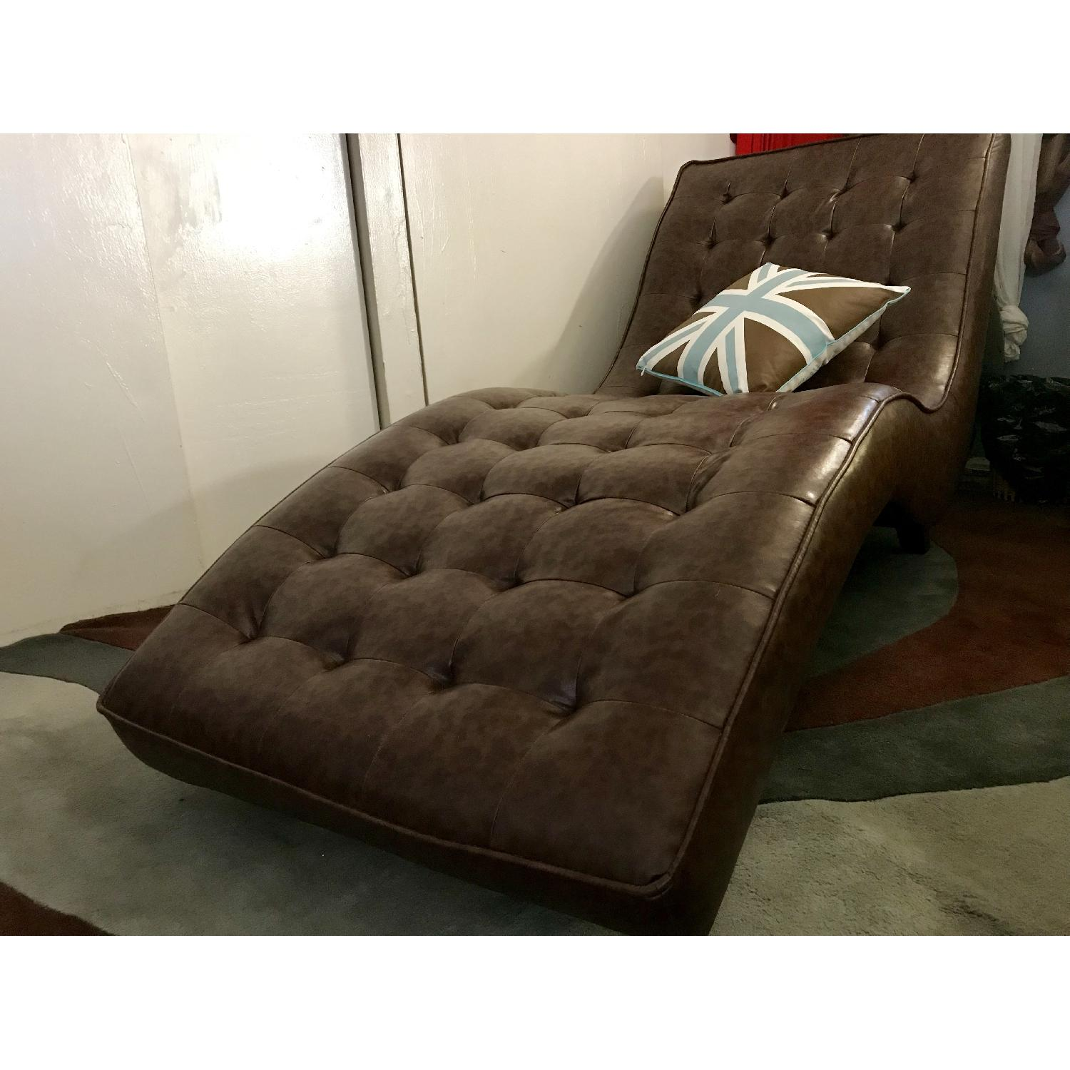 Vance Tufted Chocolate Leather Chaise