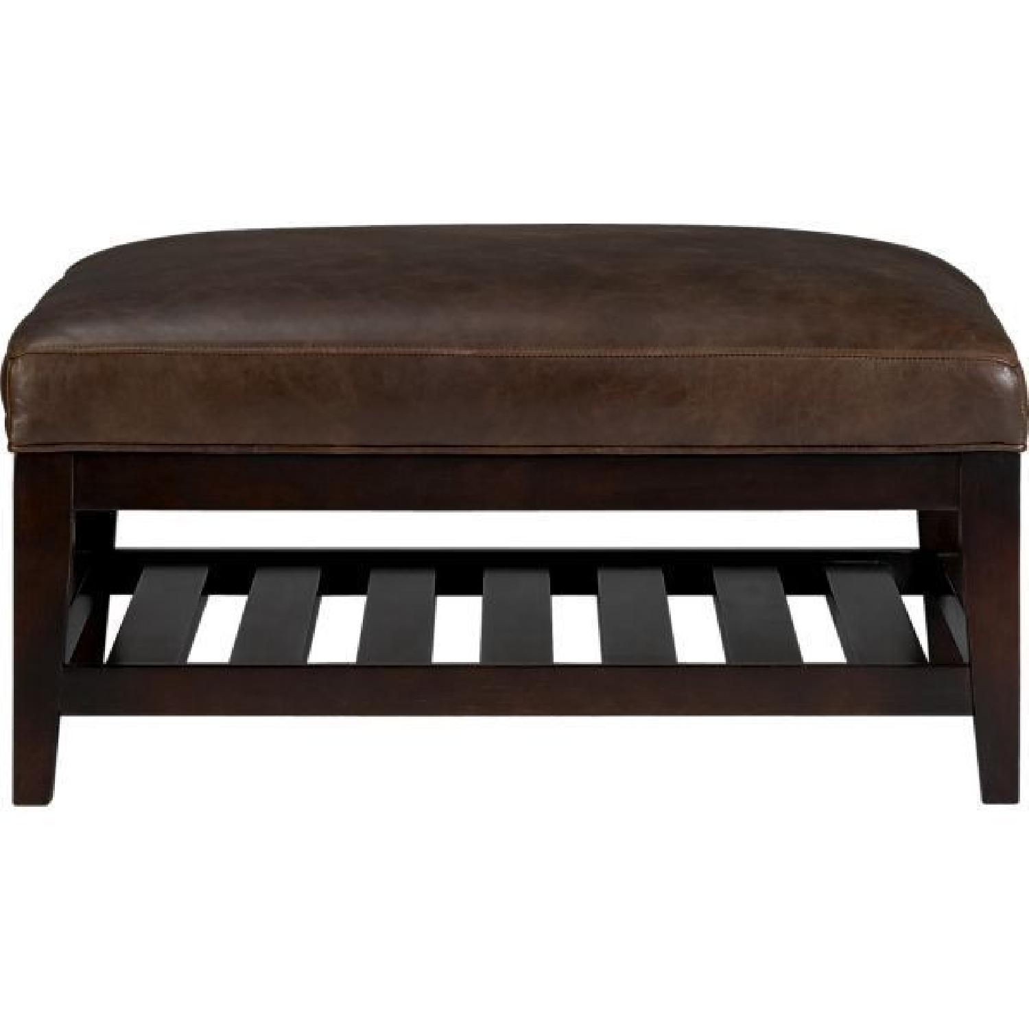 Crate & Barrel Brody Leather & Wood Coffee Table/Ottoman