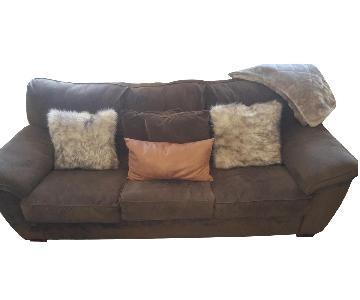 Raymour & Flanigan Rockport Microfiber Queen Sleeper Sofa