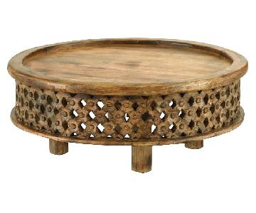 West Elm Handcarved Wood Coffee Table