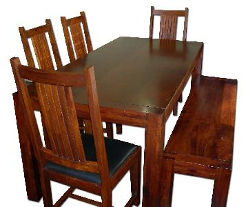 Red Solid Wood Dining Table w/ 4 Matching Chairs & 1 Bench