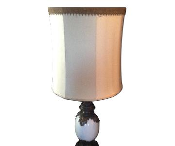 Vintage Brass & Porcelain Table Lamp w/ Fabric Lampshade