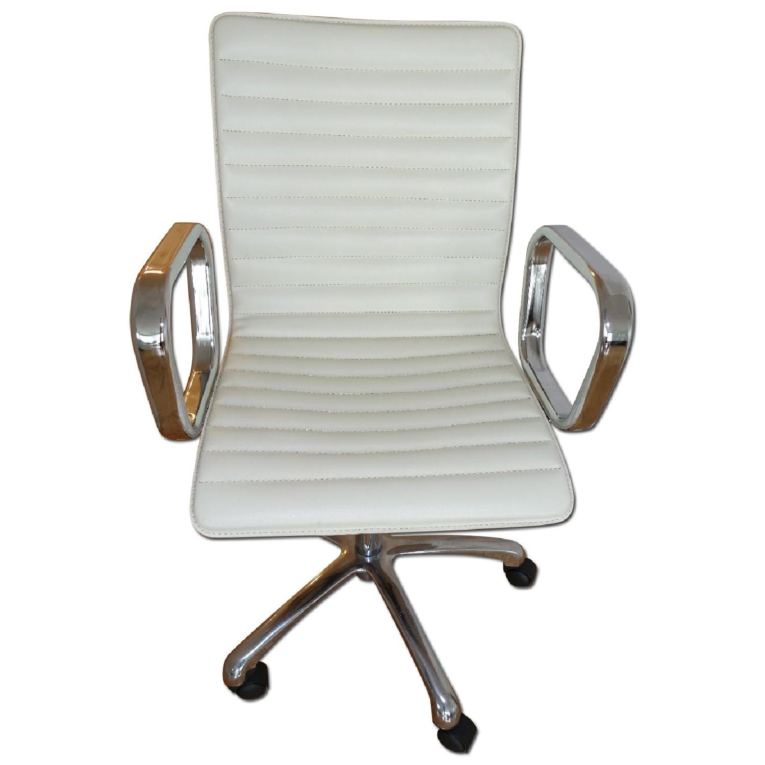 Crate Barrel Ripple Ivory Leather Office Chair Aptdeco