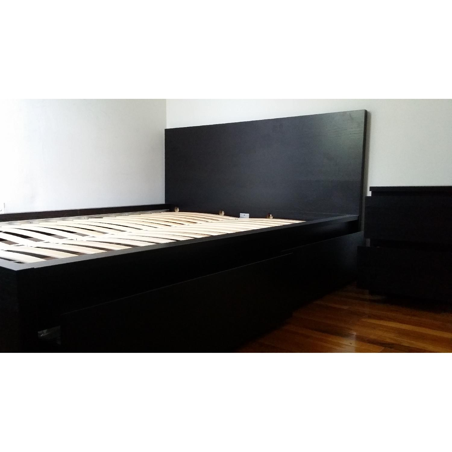 Ikea Malm Queen Size Bed Frame W 2 Underbed Storage Boxes 2 Drawer Chest Aptdeco