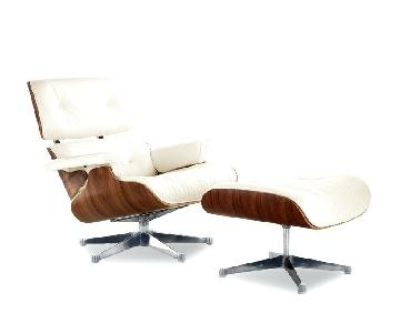 Herman Miller Eames Cream Leather Lounge Chair & Ottoman