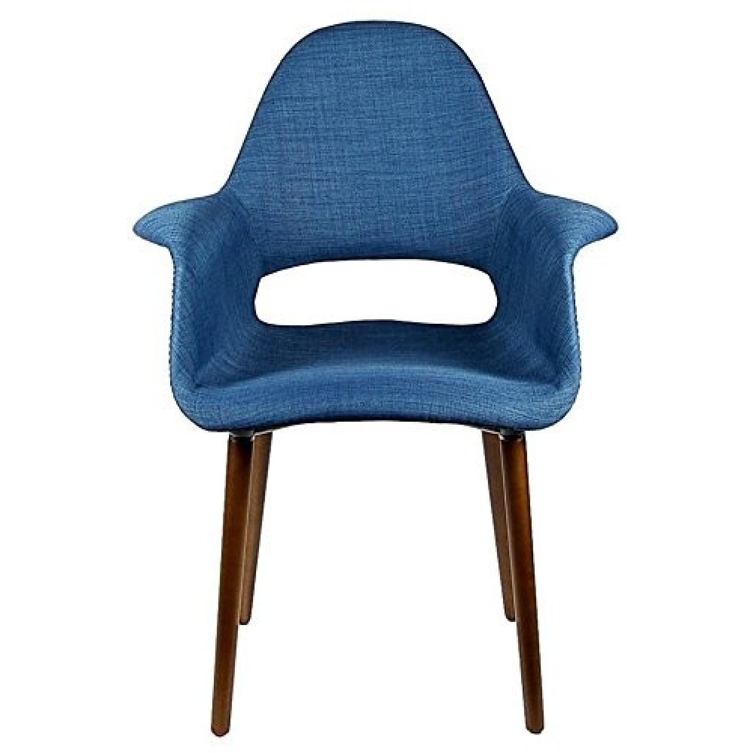 Laura Davidson Tribeca Organic Arm Chairs In Blue Fabric ...