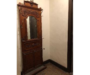 Antique Tall Coat Hanger w/ Umbrella Stand & Mirror