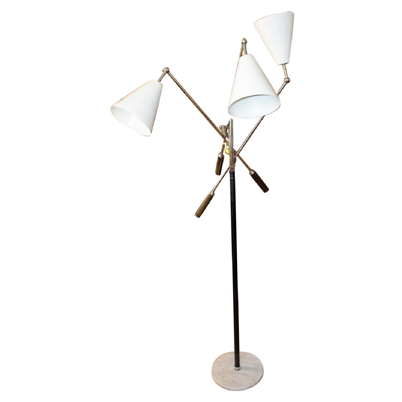 Italian Triennale 3-Arm Chrome Leather & Marble Floor Lamp