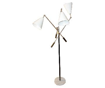 Italian Triennale 3-Arm Chrome Leather & Marble Floor Lamp
