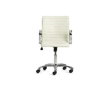 Crate & Barrel Ripple Ivory Leather Chair w/ Chrome Base