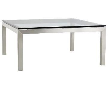 Crate & Barrel Glass Top Stainless Steel Base Coffee Table