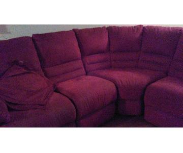 3-Piece Burgundy Microsuede Sectional Sofa