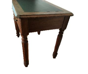Antique Faux Leather Top Writing Library Desk