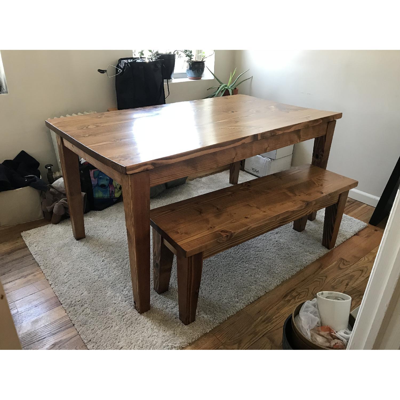 Custom Hand Made Farmhouse Table W/ Bench ...
