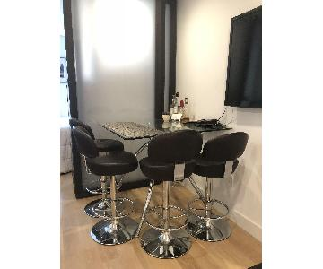 Macy's Glass Table w/ 4 Leather Bar Stools