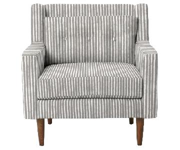 West Elm Crosby White/Grey Striped Mid-Century Armchair