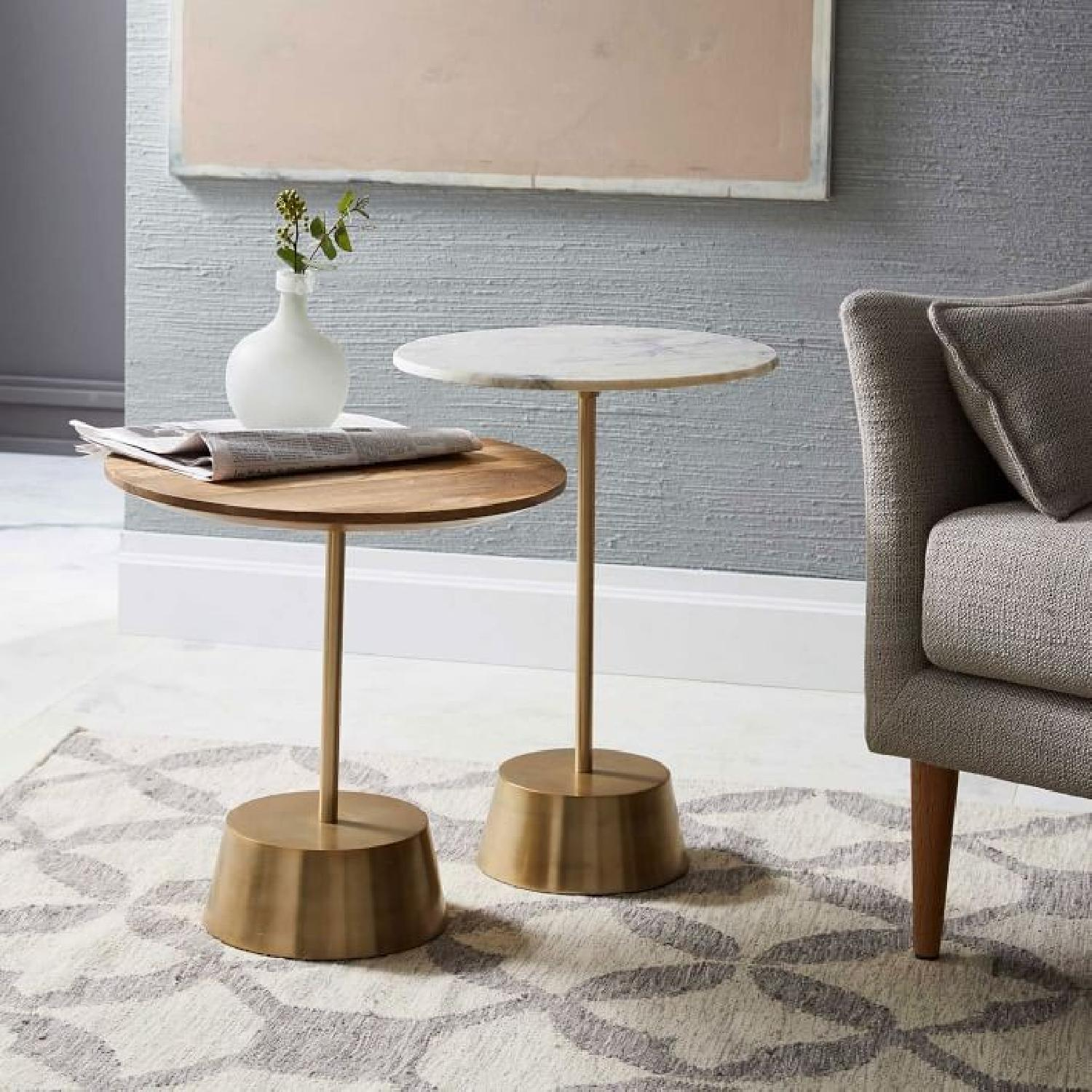 West Elm Maisie Marble Brass Side Table Aptdeco