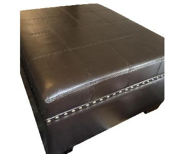 Noble House Furniture Leather Storage Ottoman