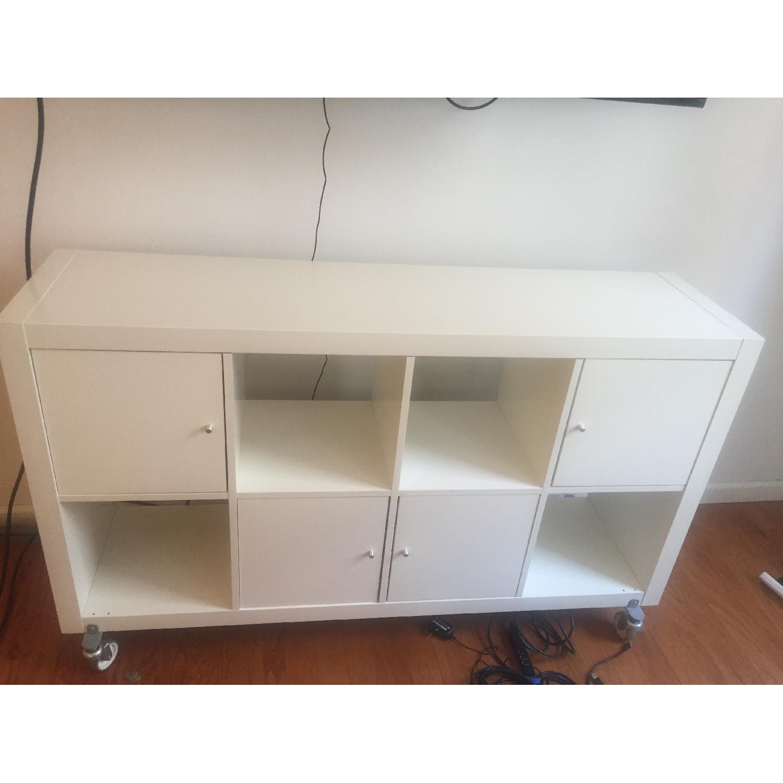 Ikea Kallax Cube Storage Unit W/ 4 Doors U0026 Casters ...