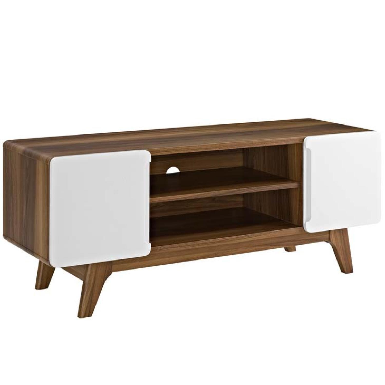 Modern TV Stand in Walnut & White