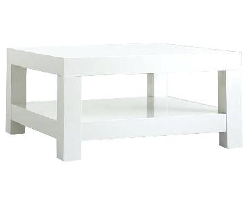 West Elm Parsons Coffee Table in White Lacquer