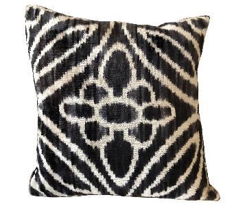 Zen Garage Hand Woven Silk Velvet Ikat Pillow in Black/Beige