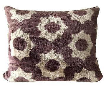 Zen Garage Hand Woven Silk Velvet Ikat Pillow in Wine/Beige