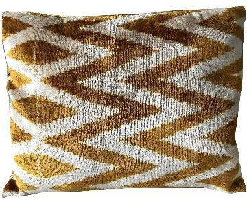 Zen Garage Hand Woven Silk Velvet Ikat Pillow in Gold/Beige