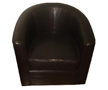 Raymour & Flanigan Dark Brown Leather Club Chair