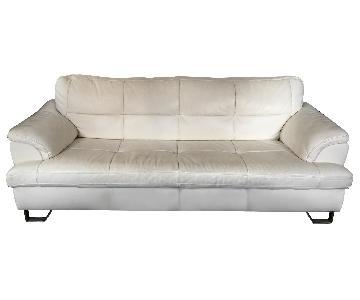 Ashley White Faux Leather Sofa