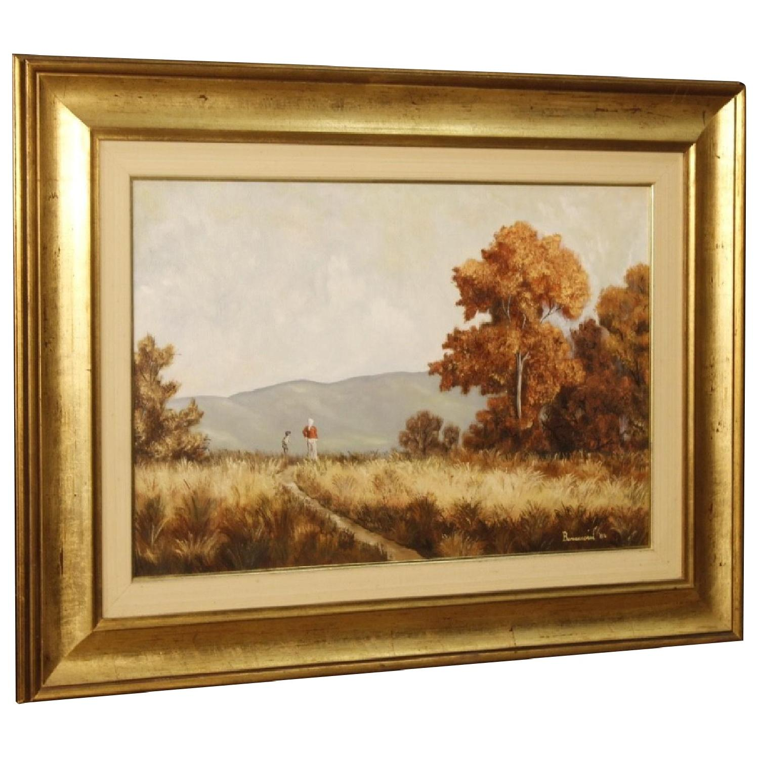 Italian Signed And Dated Landscape Painting Oil On Canvas