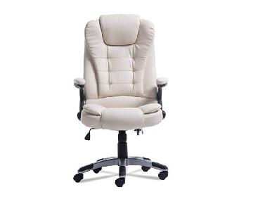 Homegrace White Leatherette Upholstered Executive Chair