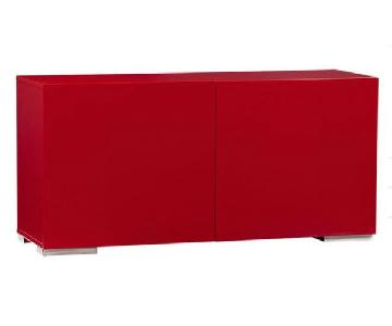 CB2 Fuel Credenza in Glossy Red Lacquer Finish