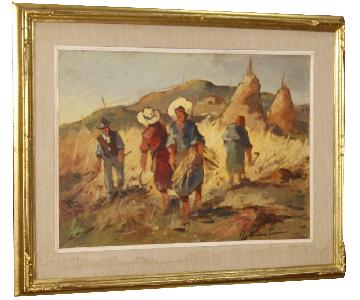 Italian Signed Oil Painting Landscape w/ Workers