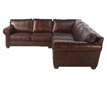 Ethan Allen Bennett Leather Sectional Sofa