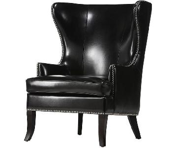Black Faux Leather Studded Armchair