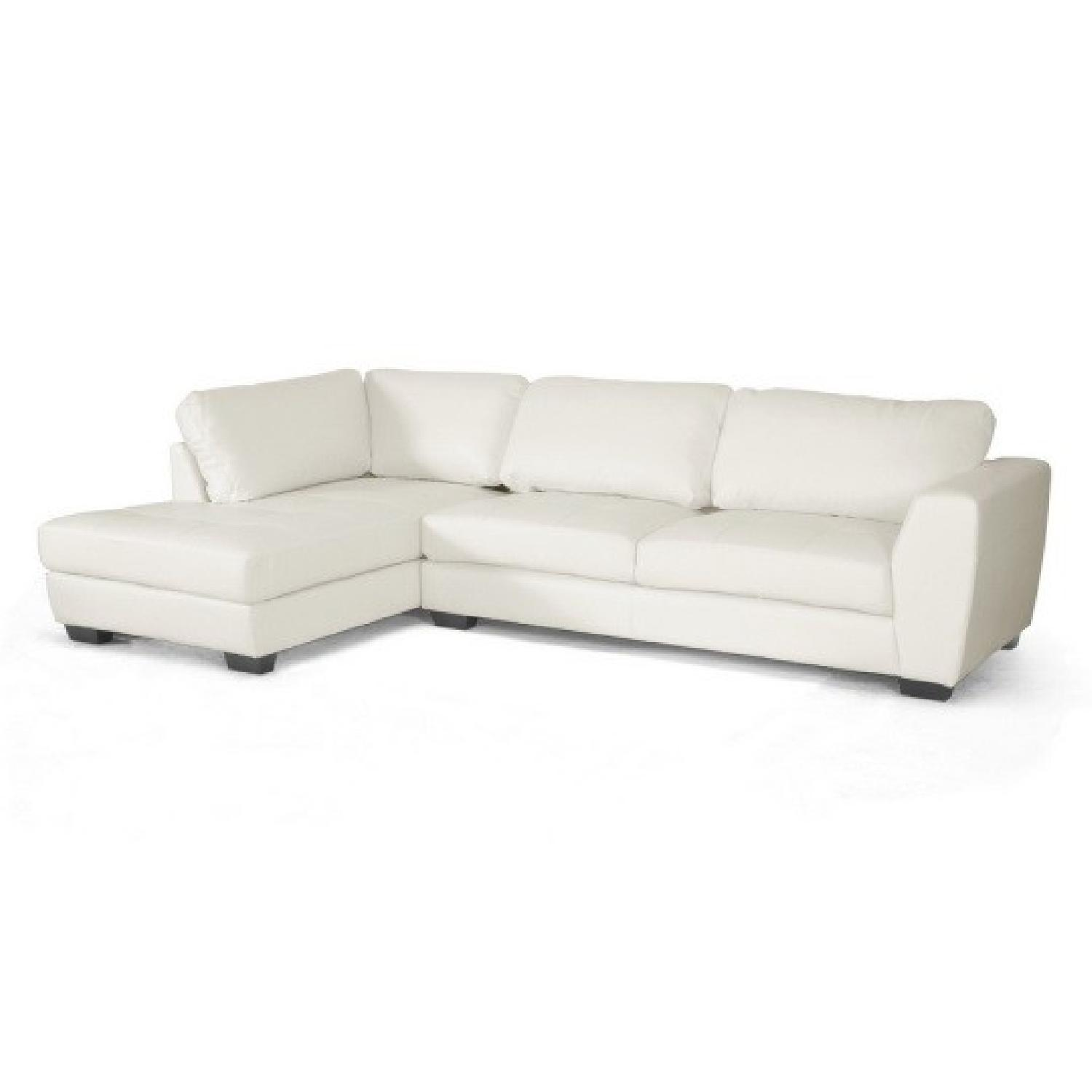 Baxton Studio White Leather Chaise Sectional Sofa ...