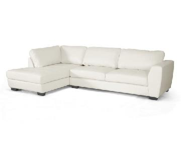 Baxton Studio White Leather Chaise Sectional Sofa