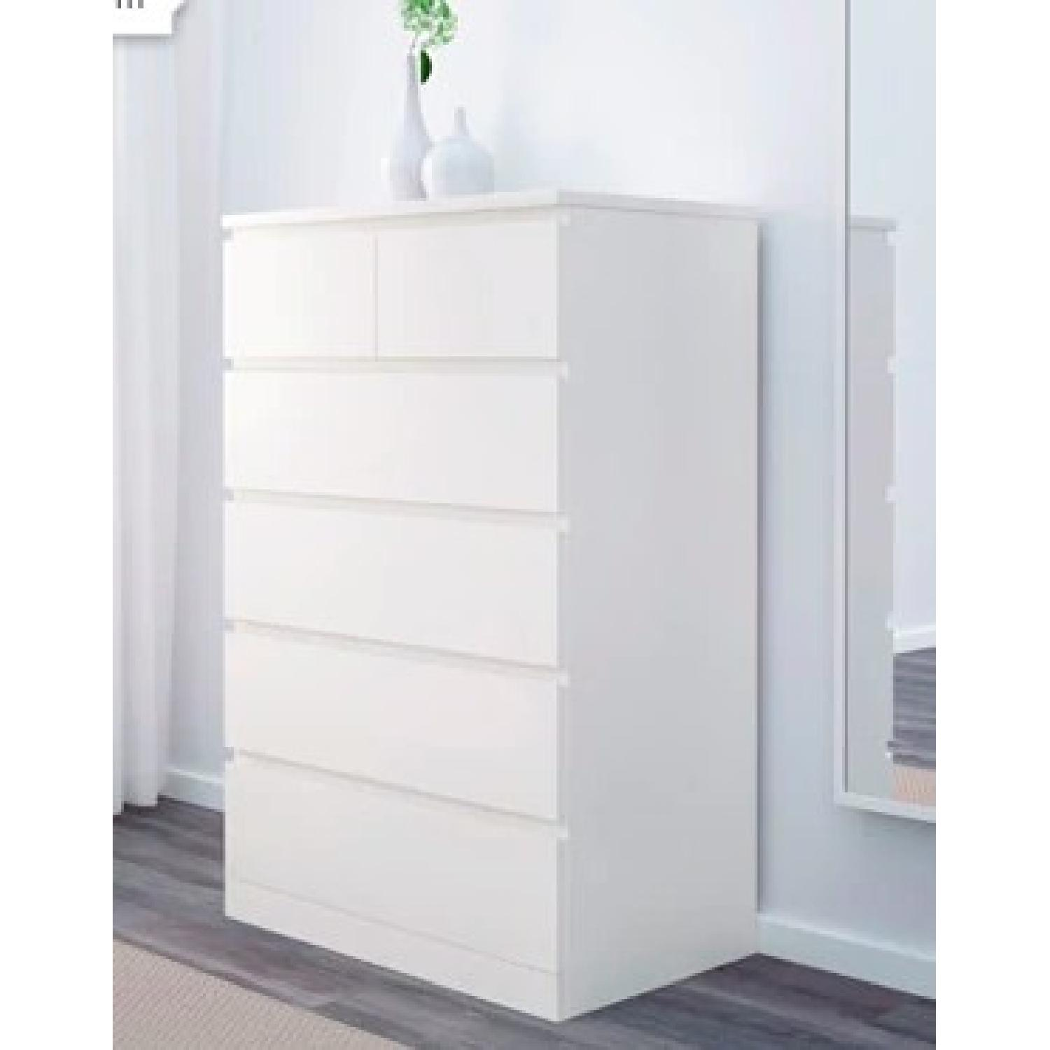 ... Ikea Malm 6 Drawer Chest W/ Glass Top 1